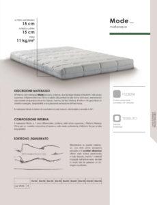 scheda tecnica materasso Mode